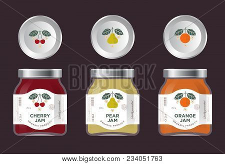 Three Labels Fruit Jam. Cherry, Pear, Orange Jam Labels And Packages. Three Packaging. Premium Desig