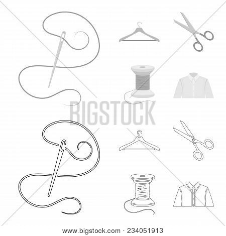 Thread, Reel, Hanger, Needle, Scissors.atelier Set Collection Icons In Outline, Monochrome Style Vec