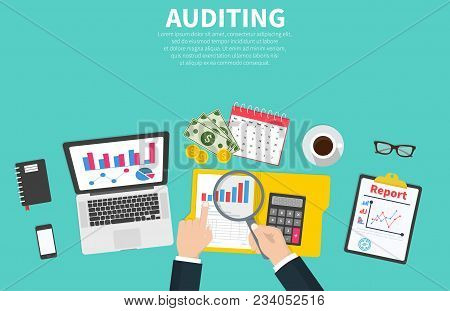 Auditing Concept Illustration. Tax Process. Auditor During Examination Of Financial Report. Research