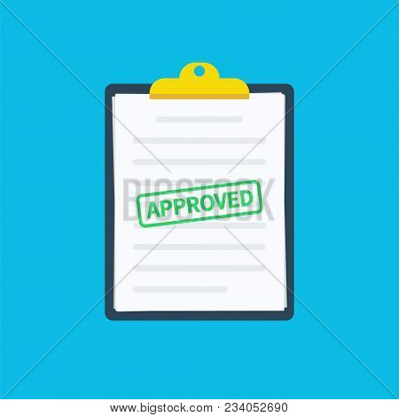 Approved Clipboard. Clipboard Application With Document, Green Approved Stamp And Pen. Modern Flat D