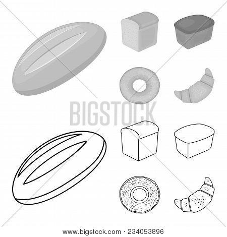 Loaf Cut, Bagel, Rectangular Dark, Half A Loaf.bread Set Collection Icons In Outline, Monochrome Sty