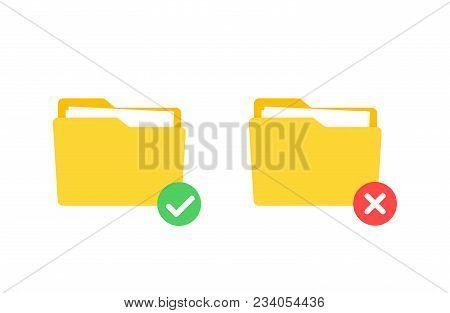 Check Folder, Approve And Reject Folder. Flat Cartoon Design, Vector Illustration On Background