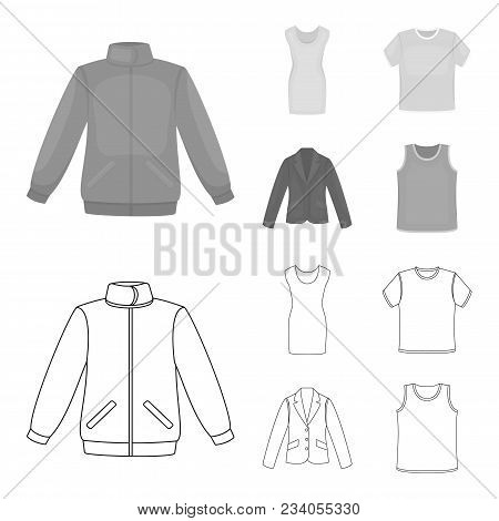 A Mans Jacket, A Tunic, A T-shirt, A Business Suit. Clothes Set Collection Icons In Outline, Monochr