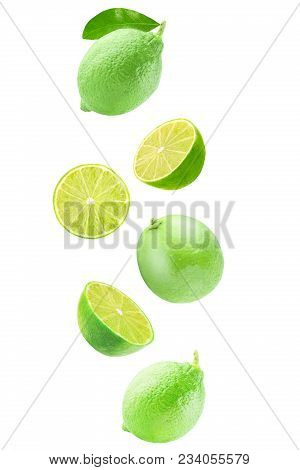 Isolated Flying Citrius. Fresh Falling Lime Isolated On White Background With Clipping Path As A Pac