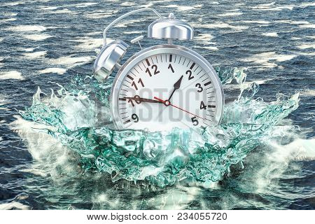 Alarm Clock Drowning In The Sea, 3d Rendering