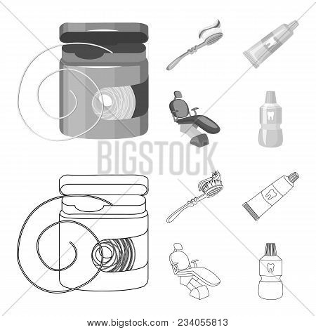Dental Floss, Toothbrush, Toothpaste, Dental Chair. Dental Care Set Collection Icons In Outline, Mon