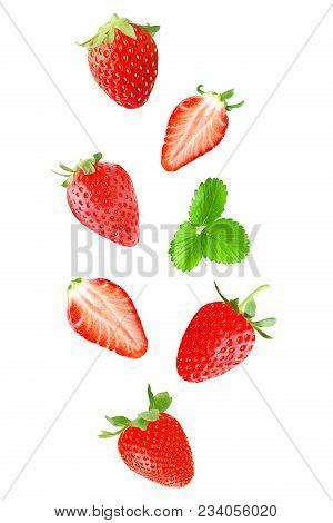 Isolated Falling Fruits. Falling Strawberry Fruit Isolated On White Background With Clipping Path As