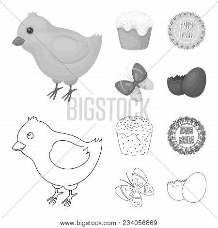 Easter Cake, Chicken, Butterfly And Greeting Sign.easter Set Collection Icons In Outline, Monochrome