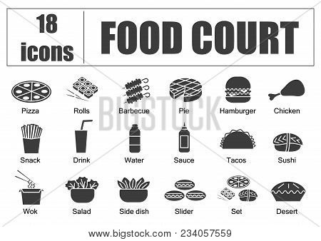 Food Court Set Of Icons, Line, Vector. Delivery Of Food, Menu Site, Fill