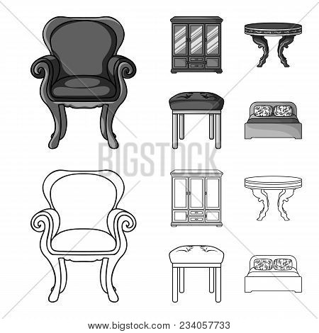 Furniture, Interior, Design, Chair .furniture And Home Interiorset Collection Icons In Outline, Mono