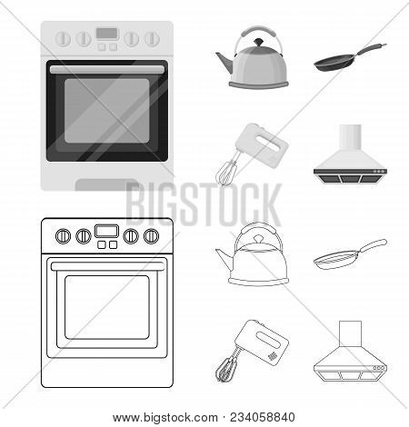 Kitchen Equipment Outline, Monochrome Icons In Set Collection For Design. Kitchen And Accessories Ve