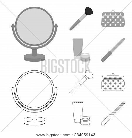 Table Mirror, Cosmetic Bag, Face Brush, Body Cream.makeup Set Collection Icons In Outline, Monochrom