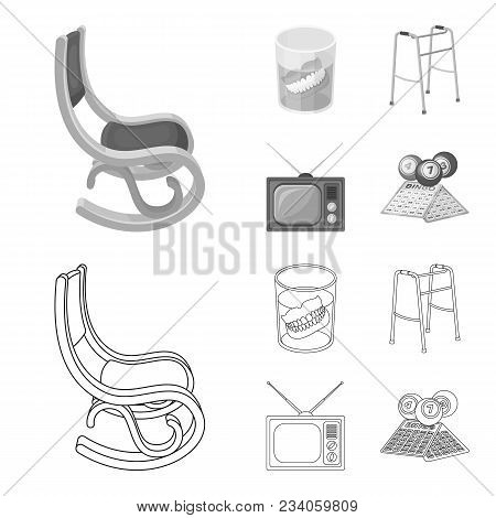 Denture, Rocking Chair, Walker, Old Tv.old Age Set Collection Icons In Outline, Monochrome Style Vec