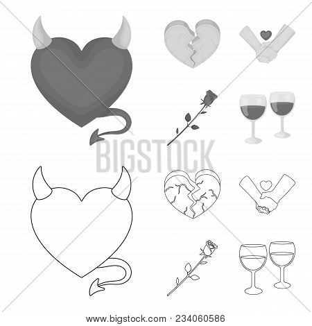 Evil Heart, Broken Heart, Friendship, Rose. Romantic Set Collection Icons In Outline, Monochrome Sty
