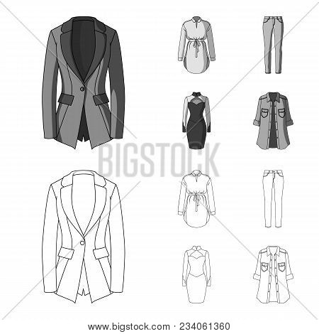 Women Clothing Outline, Monochrome Icons In Set Collection For Design.clothing Varieties And Accesso