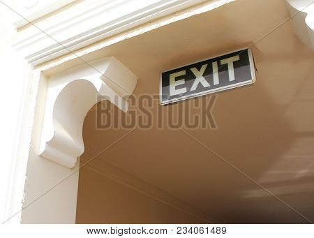 Exit Sign. Evacuation Indicator. Fire Alarm. Attention.