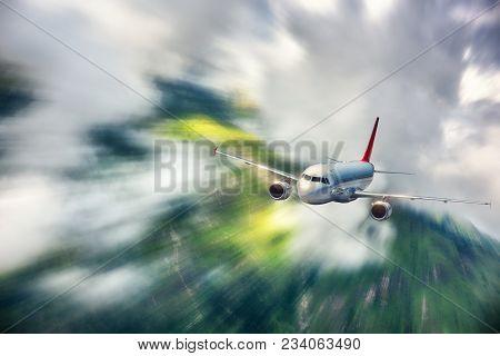 Passenger Airplane Mith Motion Blur Effect