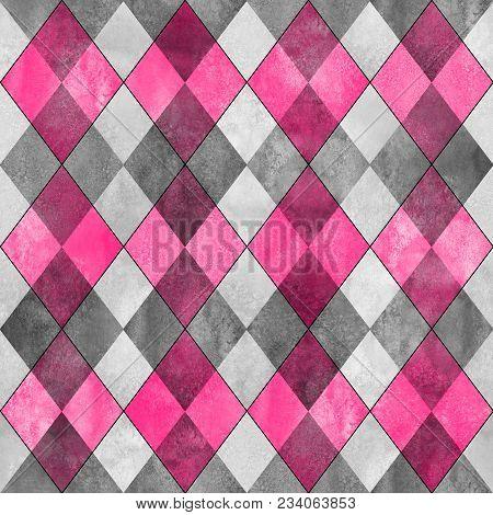 Argyle Seamless Plaid Pattern. Watercolor Hand Drawn Gray Pink Texture Background. Watercolour Diamo