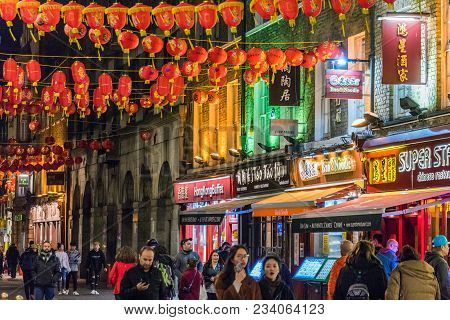 London, United Kingdom - March 26: This Is A Night View Of A Street In Chinatown, Which Is A Famous
