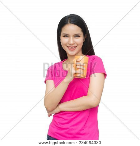 Portrait Of Asian Young Woman With Cup Of Tea Or Coffee Isolated On White Background. With Clipping