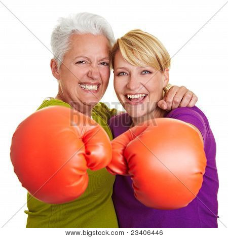 Two Senior Women Boxing