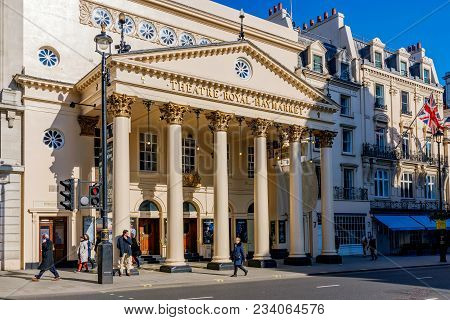 London, United Kingdom - March 21: The Theatre Royal Haymarket Building Is A Famous Theatre In Centr