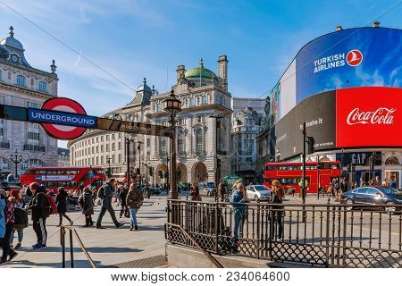 London, United Kingdom - March 21: This Is Piccadilly Circus A Famous Shopping And Tourist Area In C