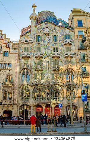 Barcelona, Spain - January 25: The Famous Casa Batllo Exterior Architecture On January 25, 2013 In B