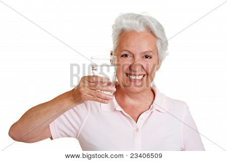Senior Woman With Glass Of Water