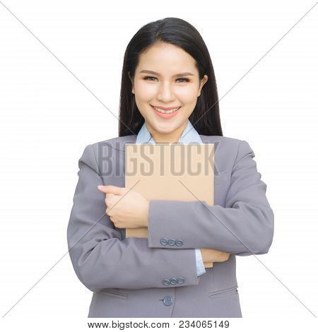 Asian Young Girl  Holding A Brown Book Isolated On White Background. With Clipping Path