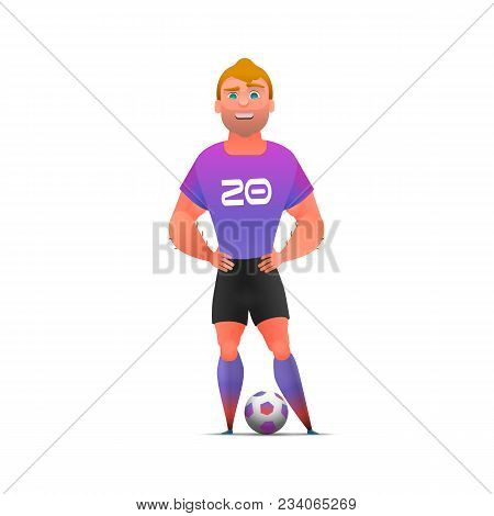 Soccer Football Player Standing Full Length, Isolated. Soccer Player In Uniforms Standing With Ball.