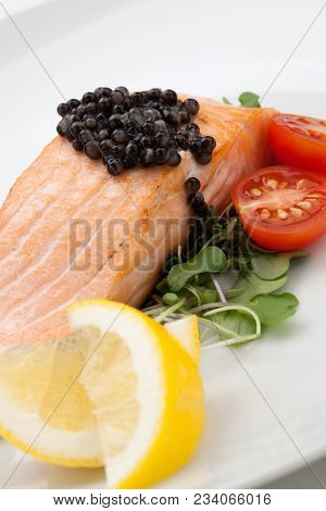 Fried Salmon With Black Caviar