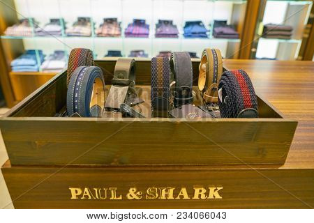 MILAN, ITALY - CIRCA NOVEMBER, 2017: belts on display at Rinascente shopping center in Milan. Rinascente is a collection of high-end stores.