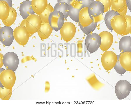 Party Banner With Golden Balloons And Serpentine Gold Confetti Isolated On A Transparent Background.