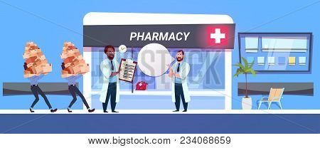 Pharmacist Doctor In Pharmacy Store Check Boxes With Drugs And Pills Modern Hospital Drugstore Shop