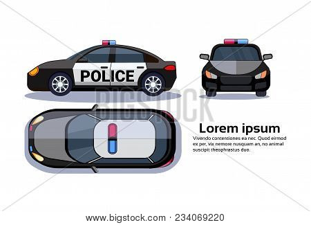Police Car On White Background Isolated Top, Side And Front View Over Copy Space Flat Vector Illustr