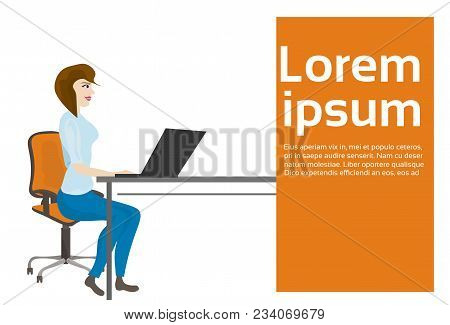 Business Woman Or Secretary Working At Laptop Computer Sitting At Office Desk Vector Illustration