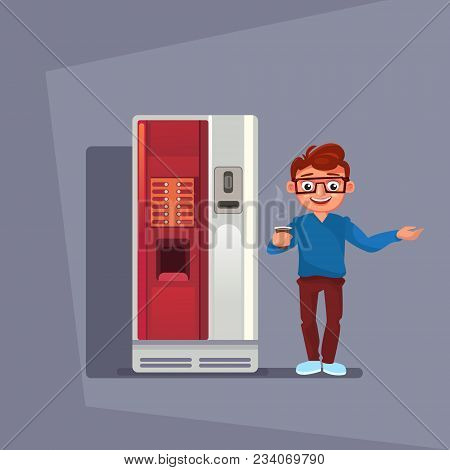 Man Buy Coffee Or Tea In Vending Machine Over Grey Background Flat Vector Illustration