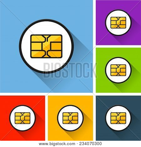 Illustration Of Chip Icons With Long Shadow