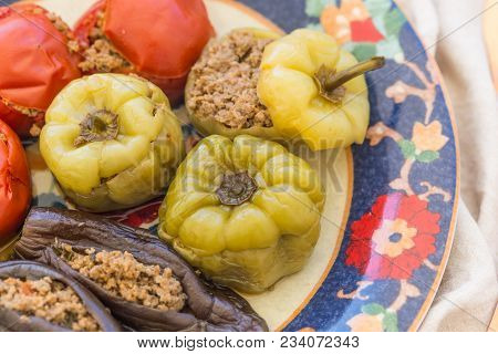 Closeup Shot Of Meat Stuffed Tomatoes, Peppers And Eggplant.