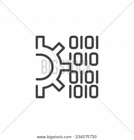 Gear And Binary Code Outline Icon. Linear Style Sign For Mobile Concept And Web Design. Code Setting