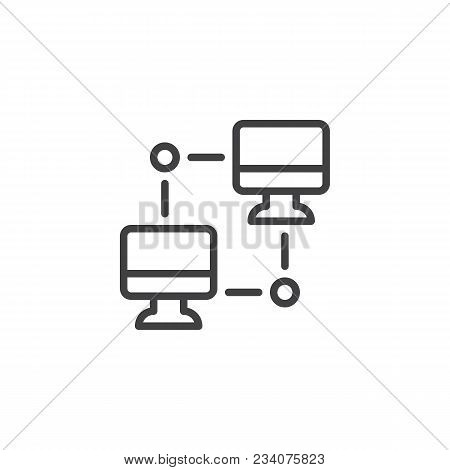 Networking Pc Outline Icon. Linear Style Sign For Mobile Concept And Web Design. Computer Sync Simpl