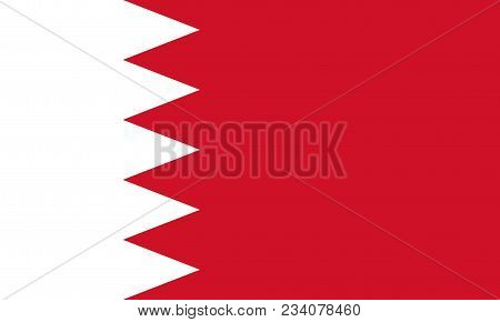 Flag Of Bahrain Official Colors And Proportions, Vector Image