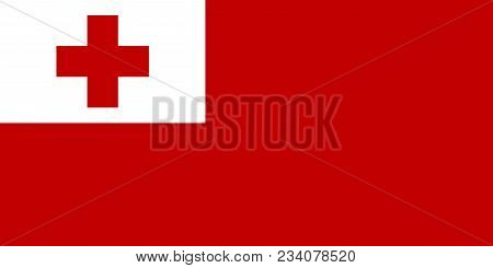 Flag Of Kingdom Of Tonga Official Colors And Proportions, Vector Image