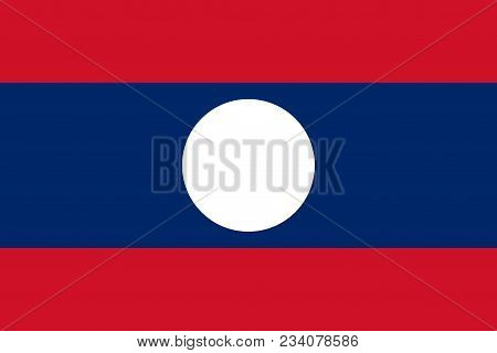 Flag Of Laos Official Colors And Proportions, Vector Image