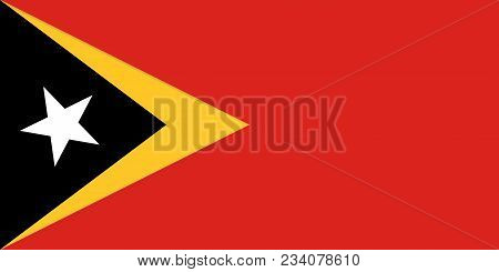 Flag Of Timor-leste Official Colors And Proportions, Vector Image