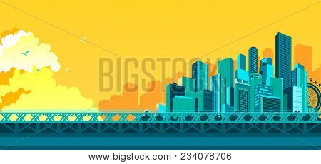Vector Illustration Of Abstract City Metropolis Bridge Over The River Or Canal