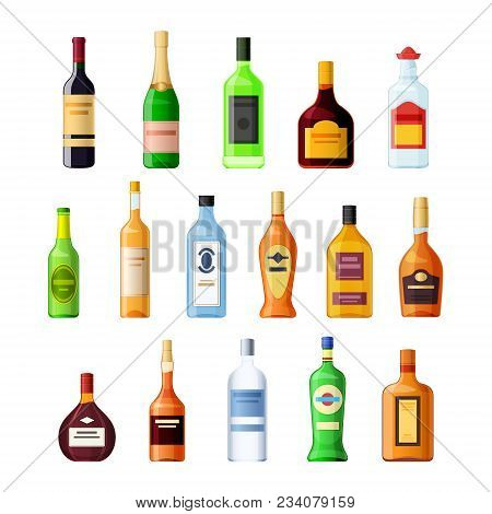 Set Empty Glass Bottle Alcohol Drink. Wine, Champagne, Absinthe, Rum, Tequila, Beer, Grappa, Gin, Ve