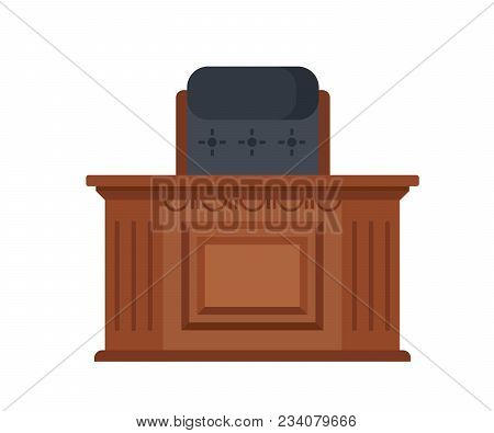 Office, Room Of The Judicial Building. Workplace Of The Judge, In The Form Of A Wooden Carved Table,