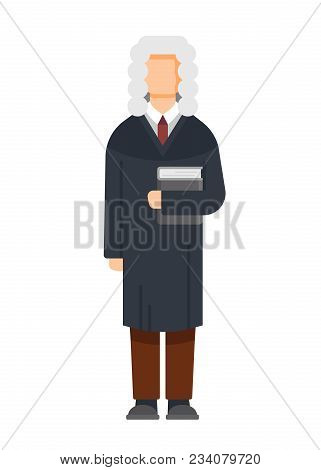 Man Character Is Judge In The Court Building, With A Book In His Hands, Civil And Criminal Cases, A